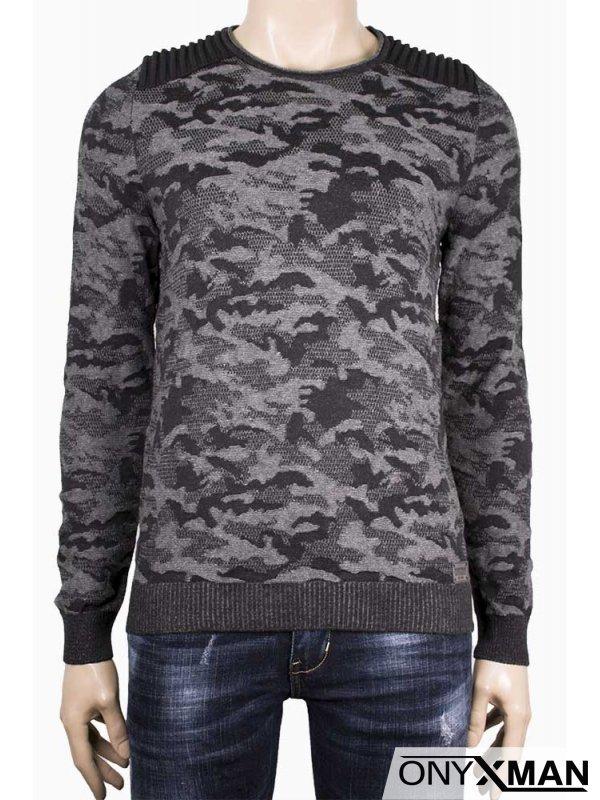Мъжка блуза плетиво с камуфлажен десен