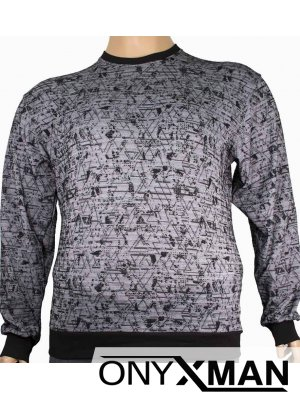 Мъжка блуза в сиво и черно Големи размери от 2XL до 5XL