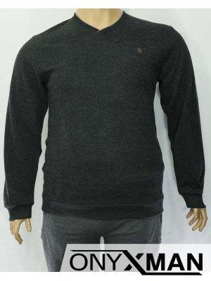 Мъжка плътна блуза в черен цвят с остро деколте Големи размери