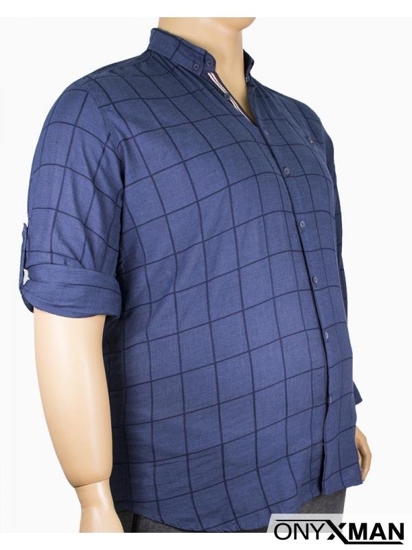Мъжка риза в тъмно синьо каре (от XL до 4XL)