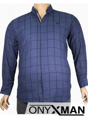 Мъжка риза в тъмно синьо каре Големи размери