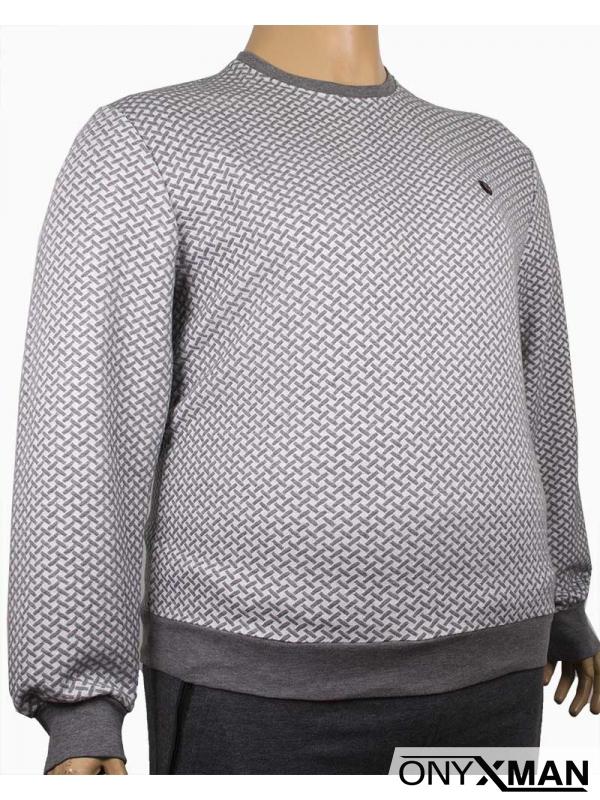 Мъжка блуза в светло сиво и бяло