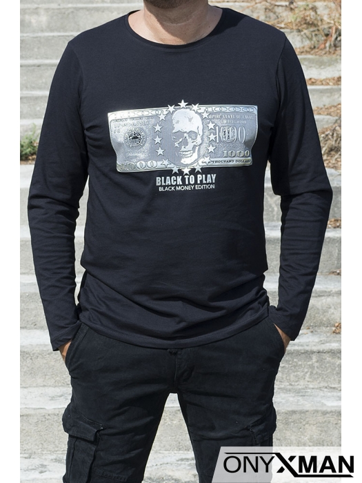 Мъжка блуза трико с релефна щампа