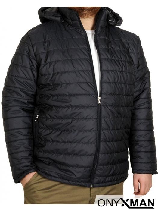Мъжко яке от тъмно син шушляк (Големи размери)