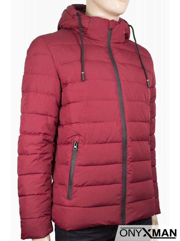 Мъжко зимно яке в цвят бордо