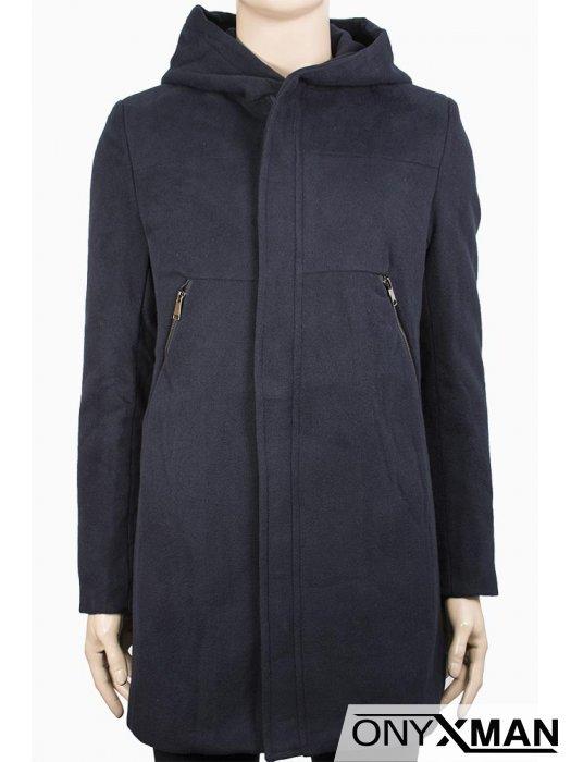 Спортно-елегантно мъжко палто с качулка