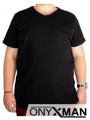 Тениска в черно с остро деколте Големи Размери