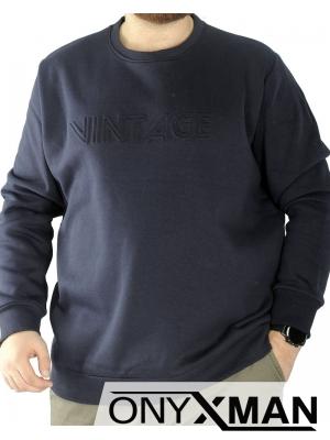 Мъжка топла блуза с принт  Големи Размери