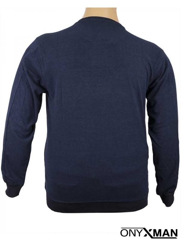 Мъжка трикотажна блуза в синьо Големи размери