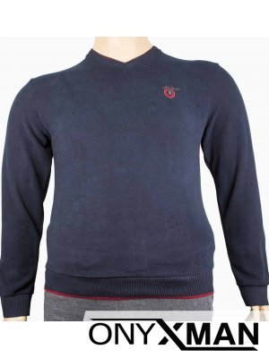 Мъжка стилна блуза с остро деколте Големи размери
