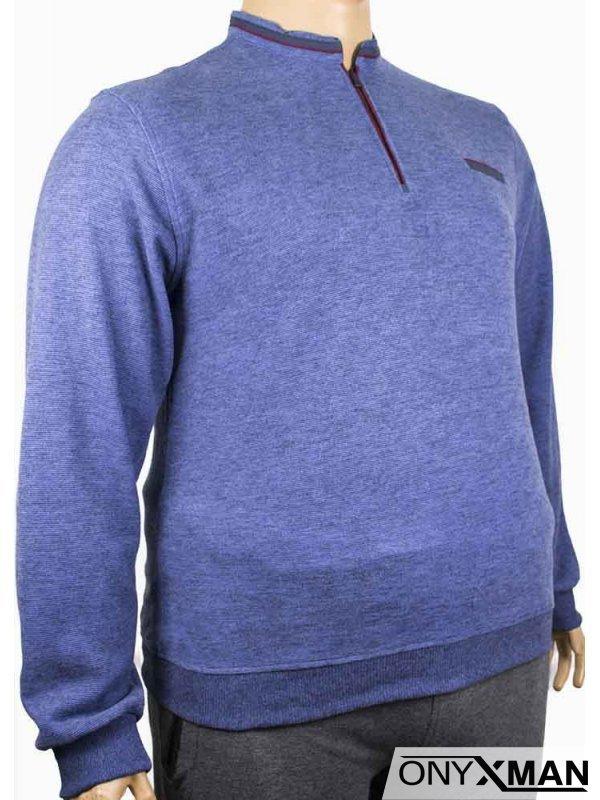 Мъжка блуза с цип и декоративен джоб