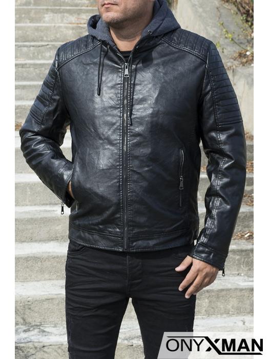 Мъжко зимно яке от изкуствена кожа с подвижна качулка