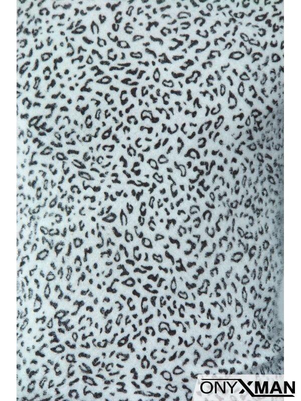 Плетена мъжка блуза с леопардова шарка