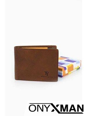 Кафяв портфейл от естествена кожа Coveri