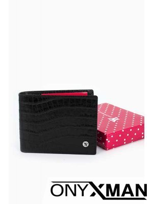 Мъжки портфейл в черен цвят с релефна повърхност