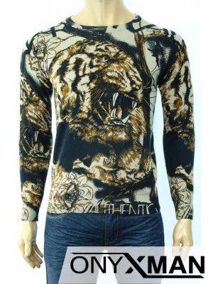 """Плетена мъжка блуза с принт """"тигър"""" от двете страни"""