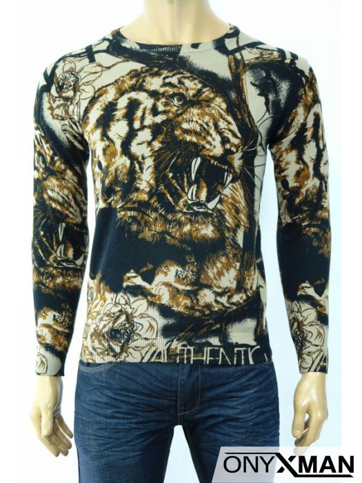 Плетена мъжка блуза с принт от двете страни