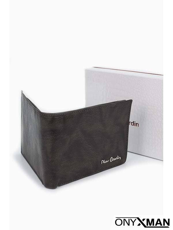 Стилен мъжки портфейл в тъмно сив цвят Pierre