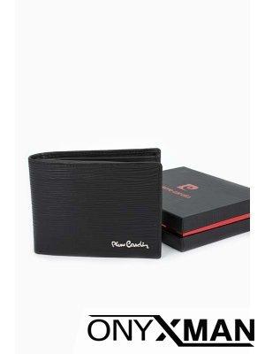 Кожен портфейл в черен цвят Pierre