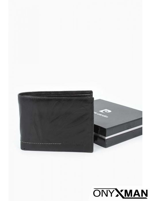 Портфейл от черна естествена кожа