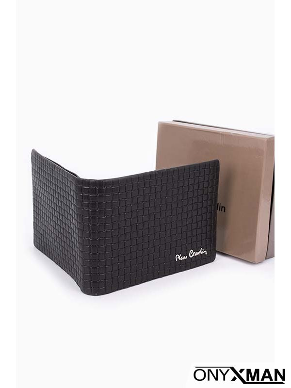 Стилен мъжки портфейл от преплетена кожа