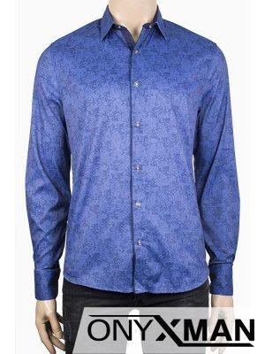 Класна мъжка риза в син цвят с флорален десен