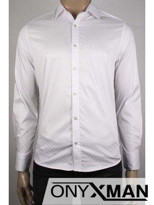 Стилна копринена бяла мъжка риза