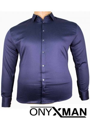 Мъжка официална риза в тъмно син цвят Големи размери
