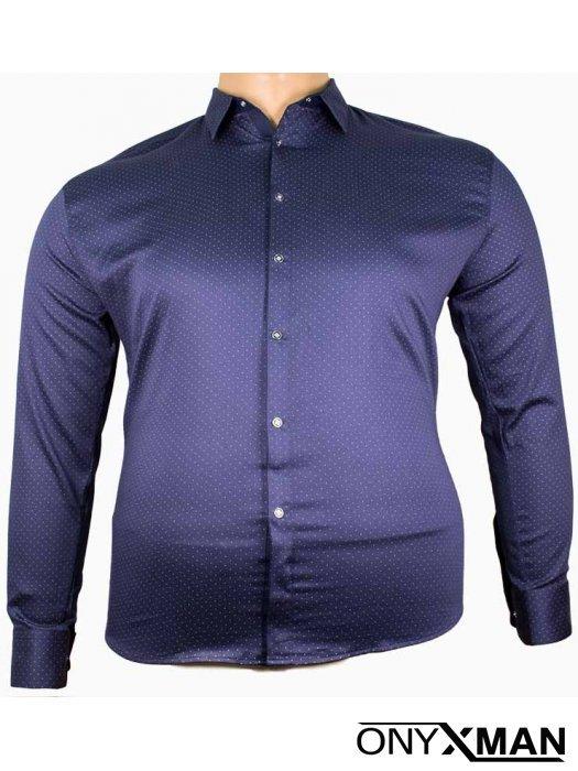 Мъжка официална риза в тъмно син цвят(от 3XL до 6XL)