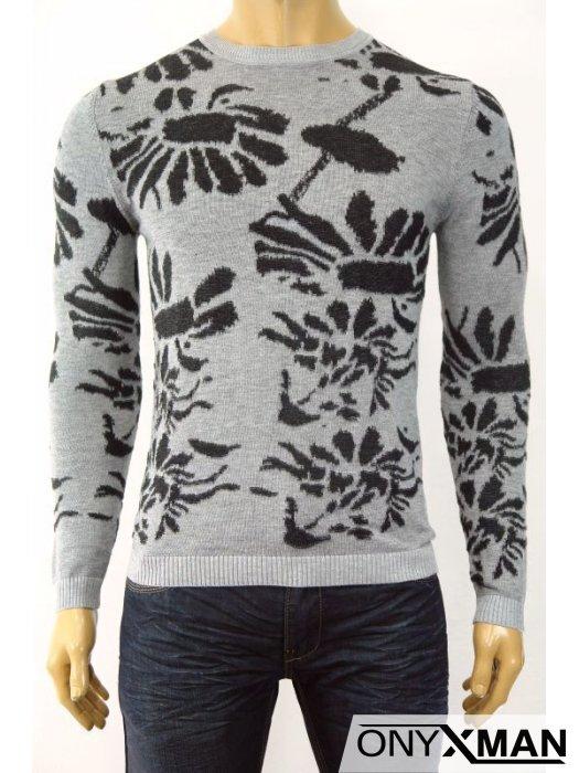 Плетена мъжка блуза на цветя в два цвята