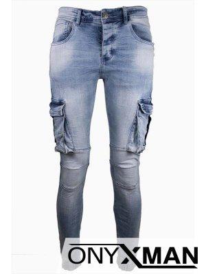 Светло сини дънки със странични карго джобове