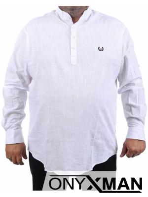 Бяла риза с дълъг ръкав Големи Размери