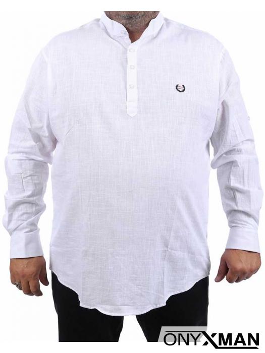 Бяла риза с дълъг ръкав за едри фигури