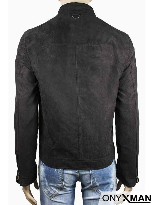 Мъжко стилно велурено яке в черен цвят