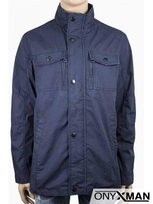 Стилно мъжко тъмно синьо яке (от М до 4XL)