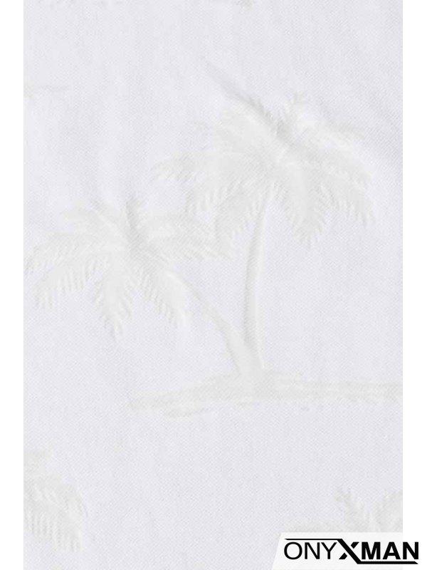 Бяла тениска с палми за едра фигура
