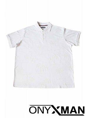 Бяла тениска с палми Големи Размери