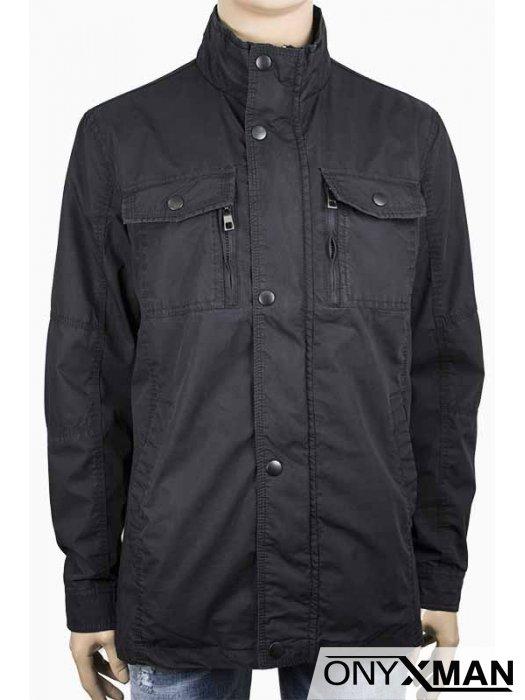Стилно мъжко яке в черен цвят (от М до 4XL)