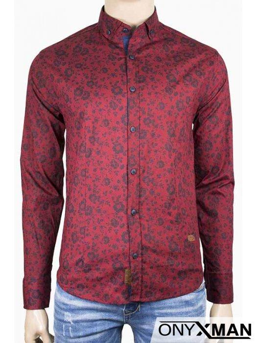 Мъжка риза в цвят бордо с флорални мотиви