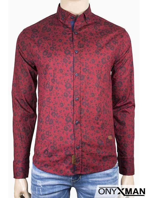 34df85cfe2e ᐉ Мъжка риза в цвят бордо с флорални мотиви на топ цена — Onyxman