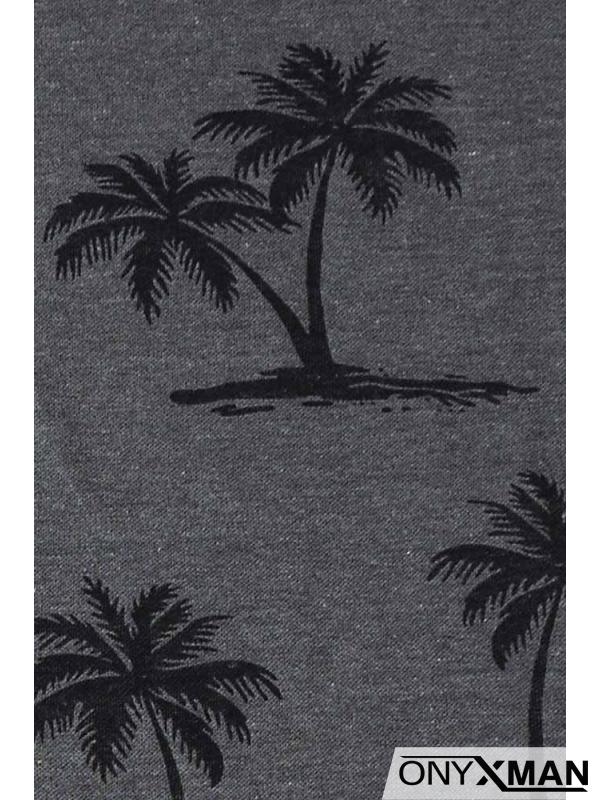 Синя тениска с палми за едра фигура