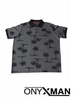 Тъмно синя тениска с щампа палми Големи Размери