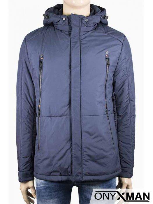 Мъжко класно яке в тъмно син цвят с тънка вата
