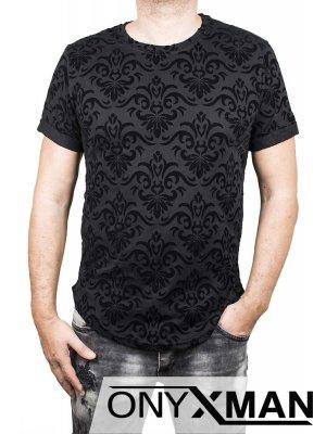 Мъжка тениска с релефен принт