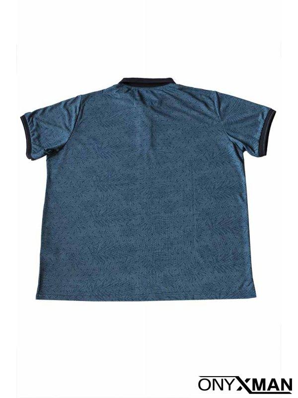 Свежа лятна тениска с яка в син цвят