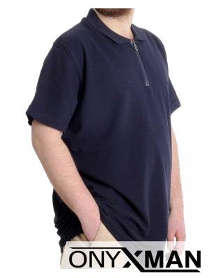 Свежа лятна тениска с яка в син цвят Големи Размери