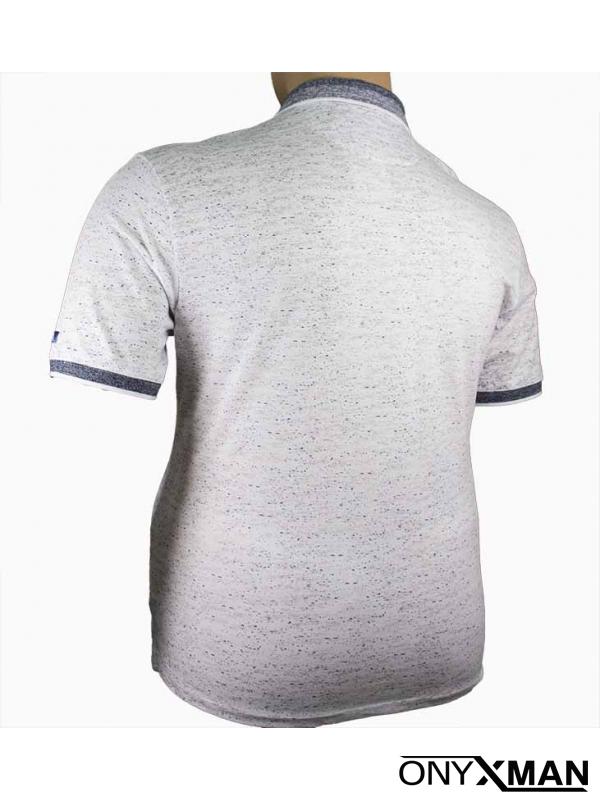 Мъжка тениска с яка и принт цветя