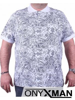 Мъжка тениска с яка и принт цветя Големи Размери