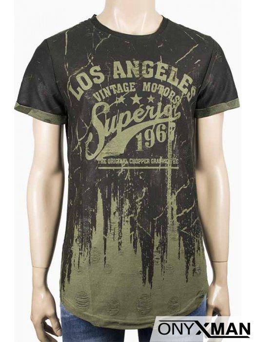Интересна тениска в зелено LA