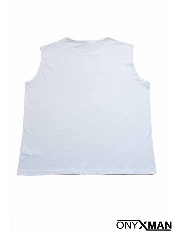 Свежа лятна тениска без ръкави в бяло с принт